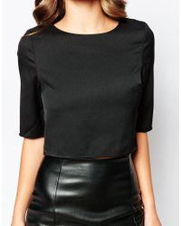AX Paris - Black Crop Top With 3/4 Sleeves - Lyst