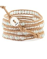 Chan Luu - Natural Amazonite Mix Wrap Bracelet On Beige Leather - Lyst