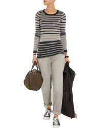 Enza Costa - Gray Striped Cashmere Sweater - Lyst