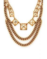Rebecca Minkoff | Metallic Pyramid Cut-out Statement Necklace, 18"