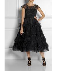 Marchesa | Black Appliquã©D Tulle Gown | Lyst
