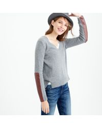 J.Crew | Gray V-neck Sweater With Leather Panels | Lyst