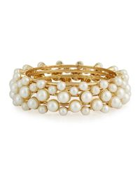 R.j. Graziano | Metallic Golden Pearly Bangle Bracelet Set | Lyst