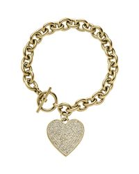 Michael Kors | Gray Golden Etched Mk Heart Bracelet | Lyst