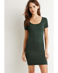 Forever 21 - Green Ribbed Scoop-neck Dress - Lyst