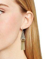 Aqua - Metallic Ruth Triangle Fringe Earrings - Lyst