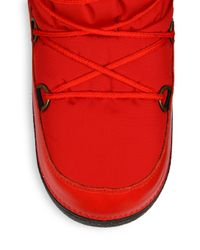 Moncler - Red Quilted Lace-Up Moon Boots - Lyst