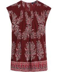 Madewell - Purple Garden Printed Silk Crepe De Chine Top - Lyst