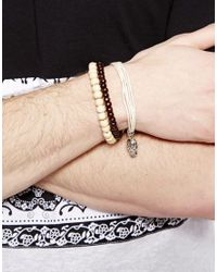 ASOS - Brown Leather and Bead Bracelet Pack with Skull for Men - Lyst