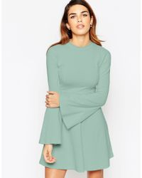 ASOS - Green Babydoll Dress With High Neck And Flared Sleeves - Lyst