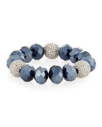 Kenneth Jay Lane | Blue Beaded Stretch Bracelet W/crystals | Lyst