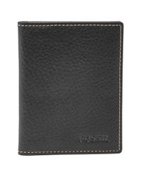 Fossil - Black 'Lincoln' Leather Folding Card Case for Men - Lyst