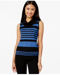 Joseph A | Blue Sleeveless Cowl-neck Sweater | Lyst
