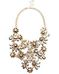 River Island | Metallic Gold Tone Gem Flower Statement Bib Necklace | Lyst