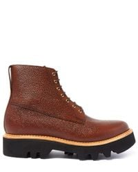 Foot The Coacher - Dark Brown Gideon Commando Lace Up Boot for Men - Lyst