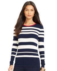 Lauren by Ralph Lauren - White Petite Striped Zip Crewneck Shirt - Lyst