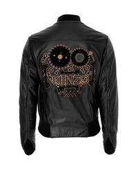 KENZO - Black Leather Logo Blouson Jacket for Men - Lyst