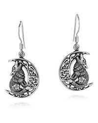 Aeravida - Metallic Howling Wolf Celtic Knot Crescent Moon .925 Silver Earrings - Lyst
