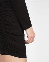 Zara | Black Dress With Side Gathering | Lyst