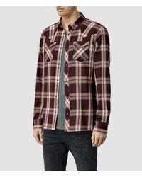 AllSaints - Brown Hellertown Shirt Usa Usa for Men - Lyst