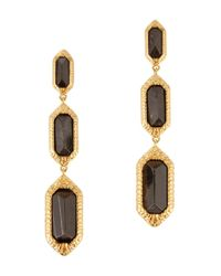 Isharya | Metallic 18Kt Gold Plated Obsidian Drop Earrings | Lyst