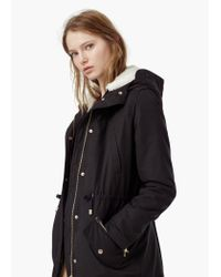 Mango - Black Long Cotton Coat - Lyst