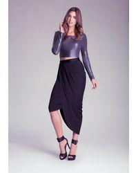 Bebe - Blue Side Draped Skirt - Lyst