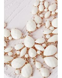 Missguided | Statement Crystal Drop Necklace White | Lyst
