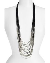 Tasha | Black Beaded Multi-Cord Long Necklace | Lyst
