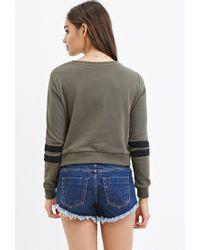 Forever 21 | Green Varsity-stripe Sweatshirt | Lyst