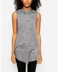 ASOS - Natural Longline Sleeveless Shirt - Lyst