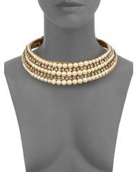 Erickson Beamon - Metallic Stratosphere Crystal & Faux Pearl Ribbon Collar Necklace - Lyst