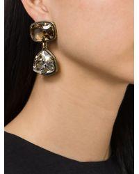 Lanvin - Metallic Crystal Stone Clip-on Earrings - Lyst