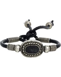 Saint Laurent - Black Bone & Leather Cord Bracelet for Men - Lyst