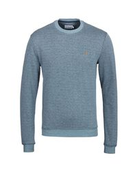 Farah - Tiller Stellar Marl Blue Crew Neck Sweatshirt for Men - Lyst