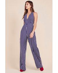 aa2349f82d4 Lyst - Jack BB Dakota All The Way Up Striped Jumpsuit in Blue