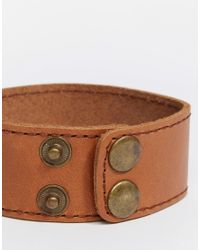 ASOS - Brown Leather Cuff Bracelet In Tan for Men - Lyst