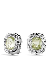 David Yurman - Metallic Labyrinth Earrings With Prasiolite And Diamonds - Lyst
