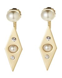 Rebecca Minkoff | Metallic Gold-Tone & Faux Pearl Diamond-Shaped Earrings | Lyst