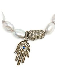 Loree Rodkin - White Keshi Pearl Hand Charm Bracelet - Lyst