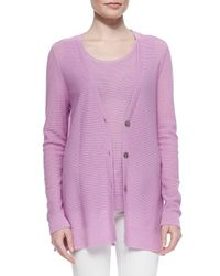 Belford | Pink Long V-neck Textured Cardigan | Lyst