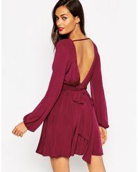 ASOS - Purple Slinky Blouson Sleeve Wrap Mini Dress - Lyst