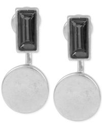 Kenneth Cole | Metallic Silver-tone Faceted Stone & Circle Drop Front To Back Earrings | Lyst