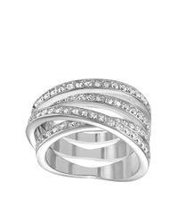 Swarovski   Metallic Spiral Crystal And Silvertone Ring Size 9   Lyst