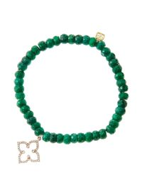 Sydney Evan | Green 6Mm Faceted Emerald Beaded Bracelet With 14K Rose Gold/Diamond Moroccan Flower Charm (Made To Order) | Lyst