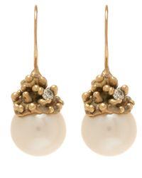 Ruth Tomlinson | Metallic Gold Diamond Encrusted Pearl Drop Earrings | Lyst