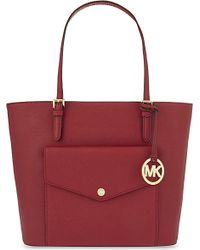 MICHAEL Michael Kors - Red Jet Set Large Saffiano Leather Tote - Lyst