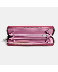COACH | Purple Accordion Zip Wallet In Colorblock Crossgrain Leather | Lyst