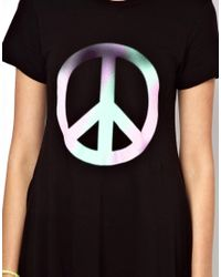 Wildfox - White Peace Babydoll Tshirt Dress - Lyst