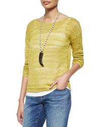 Eileen Fisher - Yellow Long-sleeve Organic Linen Slub Top - Lyst